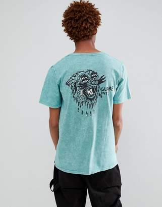 Globe Howler Back Print T-Shirt in Blue