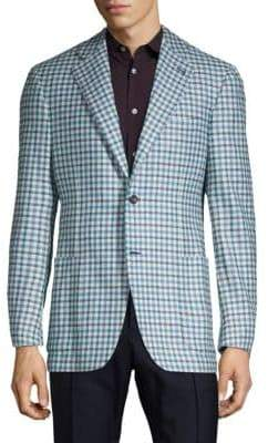 Canali Silk & Cashmere Gingham Jacket