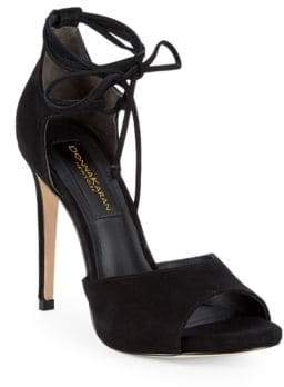 Donna Karan Suri Suede Ankle-Strap High-Heel Sandals