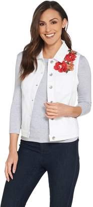 GRAVER Susan Graver High Stretch Denim Vest with Embroidery