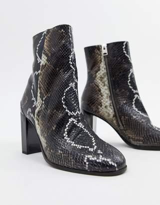AllSaints Roka faux snakeskin boot