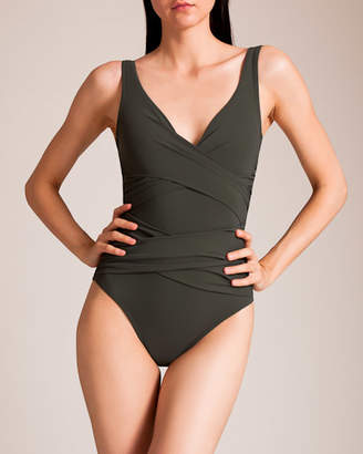 Karla Colletto Basic Surplice Neck Tank Swimsuit