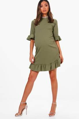 boohoo Maternity Curve Hem Ruffle Shift Dress