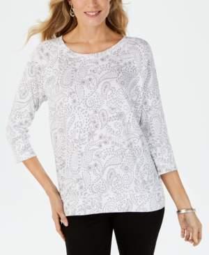 Karen Scott Paisley-Print Sweatshirt, Created for Macy's