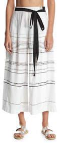 High-Waist Striped Palazzo Coverup Pants