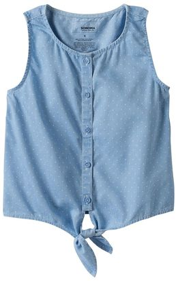 Girls 4-12 SONOMA Goods for LifeTM Chambray Tie-Front Top $24 thestylecure.com