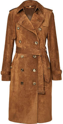 Burberry The Haddington Double-breasted Suede Trench Coat - Brown