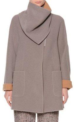 Giorgio Armani Long-Sleeve Wrap Coat w/Detachable Collar, Gray $3,295 thestylecure.com