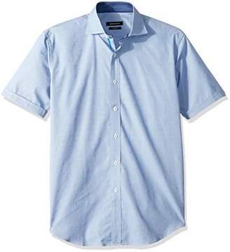 Bugatchi Men's Dobby Cotton Shaped Fit Spread Collar Short Sleeve Shirt