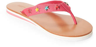 RED Valentino Fuchsia Star-Applique Flip Flops