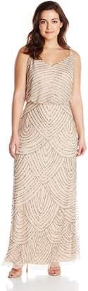 Adrianna Papell Women's Plus-Size Long Blouson Beaded Dress