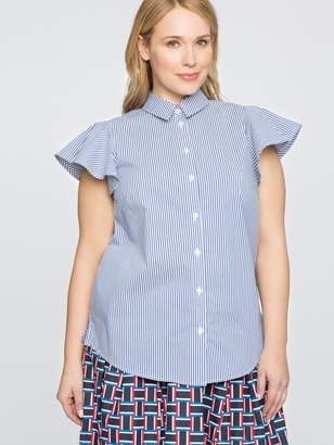 Draper James for ELOQUII Stripe Button Down Flutter Sleeve Shirt