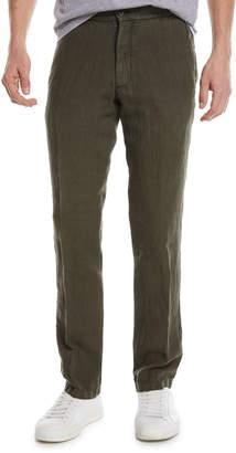 Ermenegildo Zegna Solid Linen Straight-Leg Pants