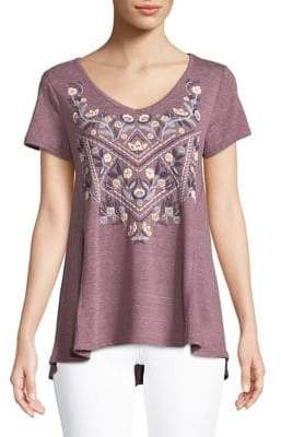 Style&Co. Style & Co. Flower Print Heathered Tee