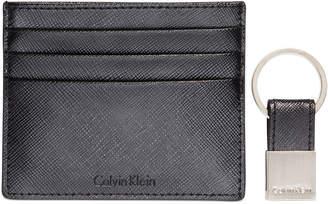 Calvin Klein Saffiano Leather Two-Tone Card Case & Key Fob