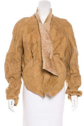 Donna Karan Patchwork Shearling Jacket