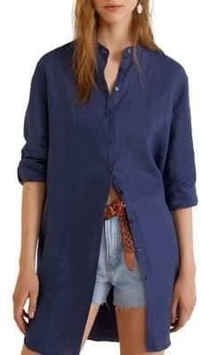 MANGO Mandarin-Collared Linen Shirt