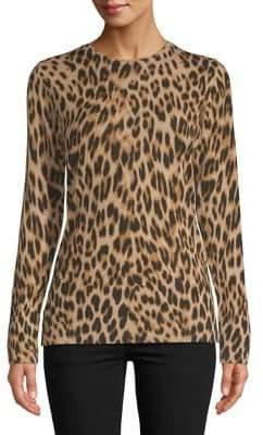 Lord & Taylor Plus Leopard Print Merino Wool Sweater