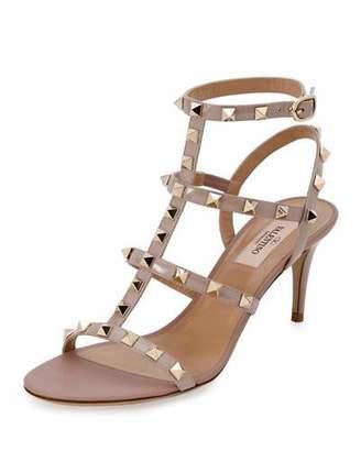 Valentino Rockstud Patent 70mm Sandals, Poudre