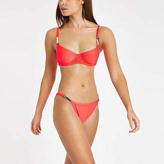 River Island Bright coral shirred plunge bikini top