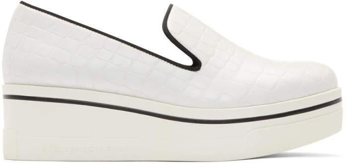 Stella McCartney White Croc Binx Slip-On Sneakers
