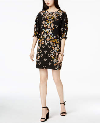 Laundry by Shelli Segal Floral-Print Smocked-Sleeve Dress