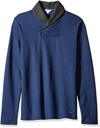 Calvin Klein Men's Long Sleeve Color Block Shawl Collar Pullover
