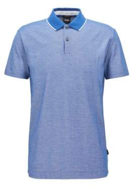 BOSS Hugo Regular-fit polo shirt in two-tone honeycomb cotton M Open Blue