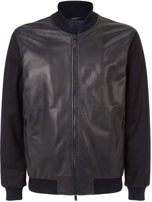 Ermenegildo Zegna Leather and Wool Bomber Jacket