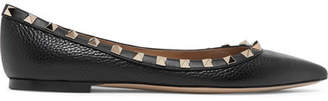 Valentino Garavani The Rockstud Textured-leather Point-toe Flats