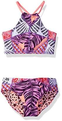 Maaji Girls' High Neck Mixed Print Bikini Swimsuit Set