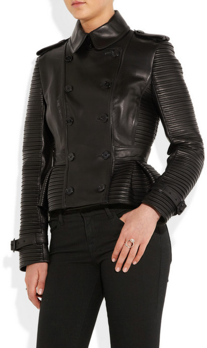 Burberry Leather peplum jacket