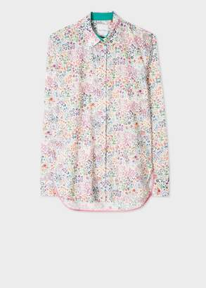 Paul Smith Women's White 'Liberty' Print Cotton Shirt With Dusky Pink Cuff Lining