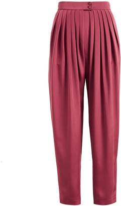 WtR - WtR Burgundy Silk High Waisted Peg Leg Trousers