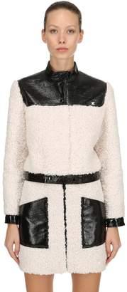Courreges Faux Shearling & Wrinkled Vinyl Jacket