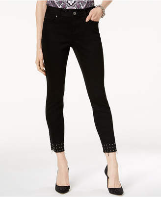 INC International Concepts I.n.c. Curvy-Fit Studded Released-Hem Skinny Jeans