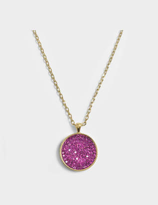 Marc Jacobs Double Sided Medallion Pendant Necklace in Gold and Fuchsia Brass