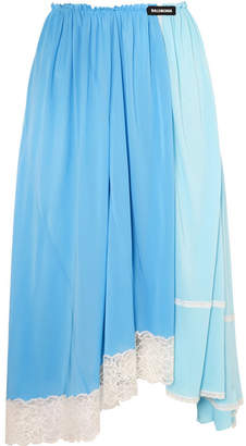 Balenciaga Lace-trimmed Jersey Midi Skirt - Blue