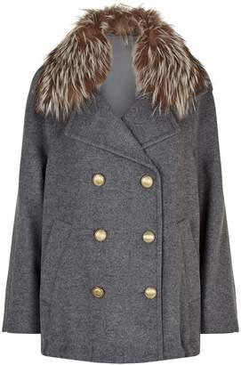 Brunello Cucinelli Cashmere Fur Collar Pea Coat