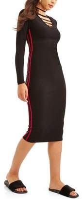 Eye Candy Juniors' Long Sleeve Caged Midi Dress with Stripe