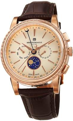 Bruno Magli Mens Limited Edition Swiss Made Multifunction Moonphase Watch With Italian Leather Strap