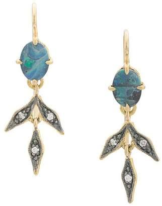Cathy Waterman 22kt gold and blackened opal Lyrical Wheat earrings