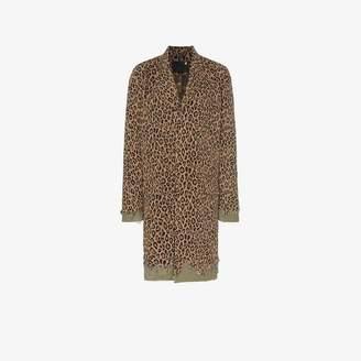 R 13 leopard print denim distressed cotton coat