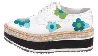 Prada Patent Leather Round-Toe Oxfords
