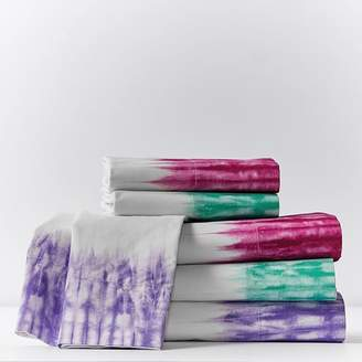 Pottery Barn Teen Tie Dye Cuff Surf Sheet Set, Queen, Bright Pink