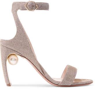 Nicholas Kirkwood Lola Embellished Lurex Sandals - Platinum