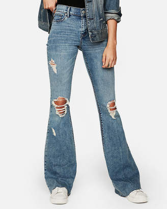 Express Mid Rise Ripped Stretch Bell Flare Jeans