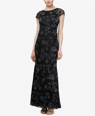 Sl Fashions Beaded Floral Gown