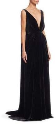Oscar de la Renta Sleeveless V-Neck Column Gown