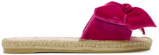 Manebi Red Velvet Monaco Espadrille Sandals